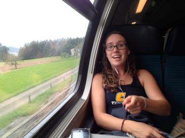 Train travel, listening to music